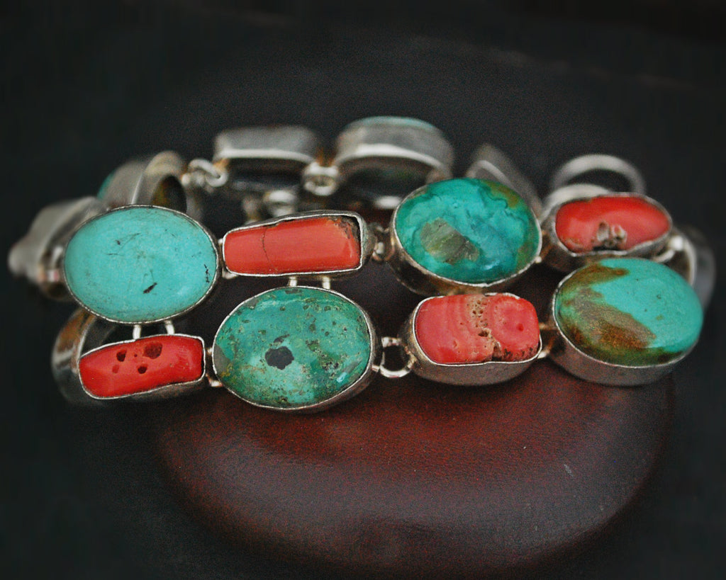 Ethnic Coral Turquoise Link Bracelet