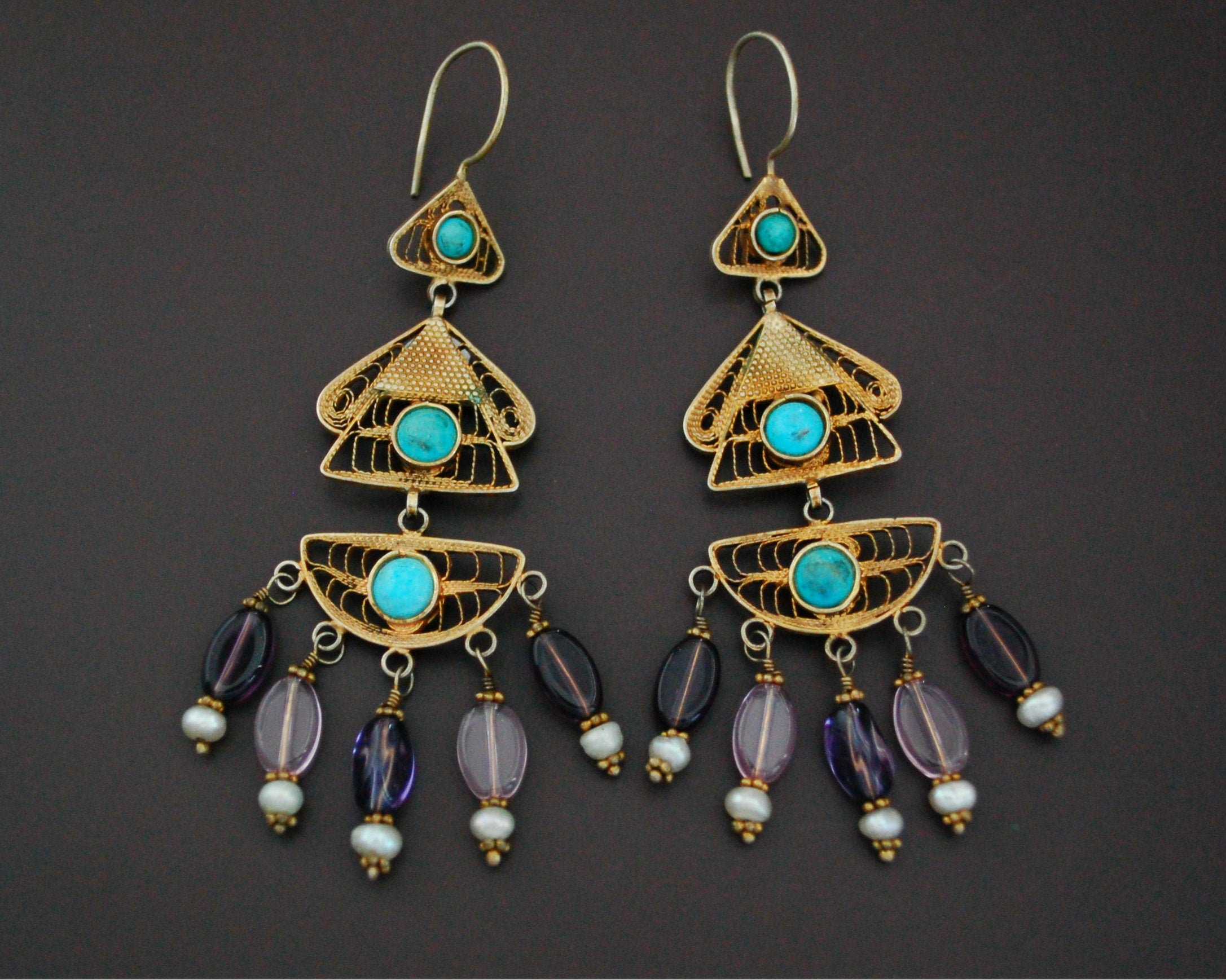 Gilded Uzbek Filigree Gemstone Earrings