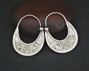 Tuareg Hoop Earrings with Carvings