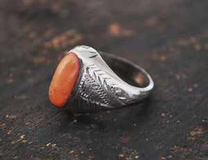 Antique Afghan Coral Ring - Size 6.5