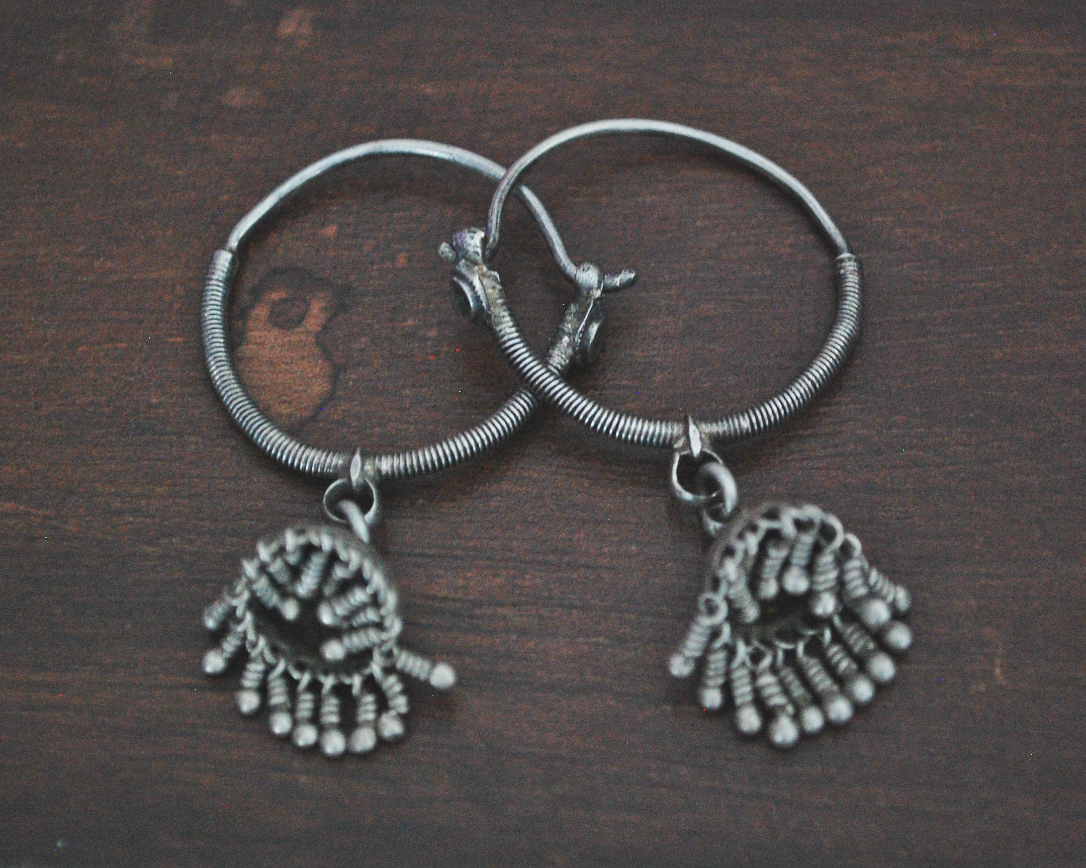 Tribal Indian Hoop Earrings with Jhumka