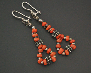 Yemeni Coral Silver Bead Earrings
