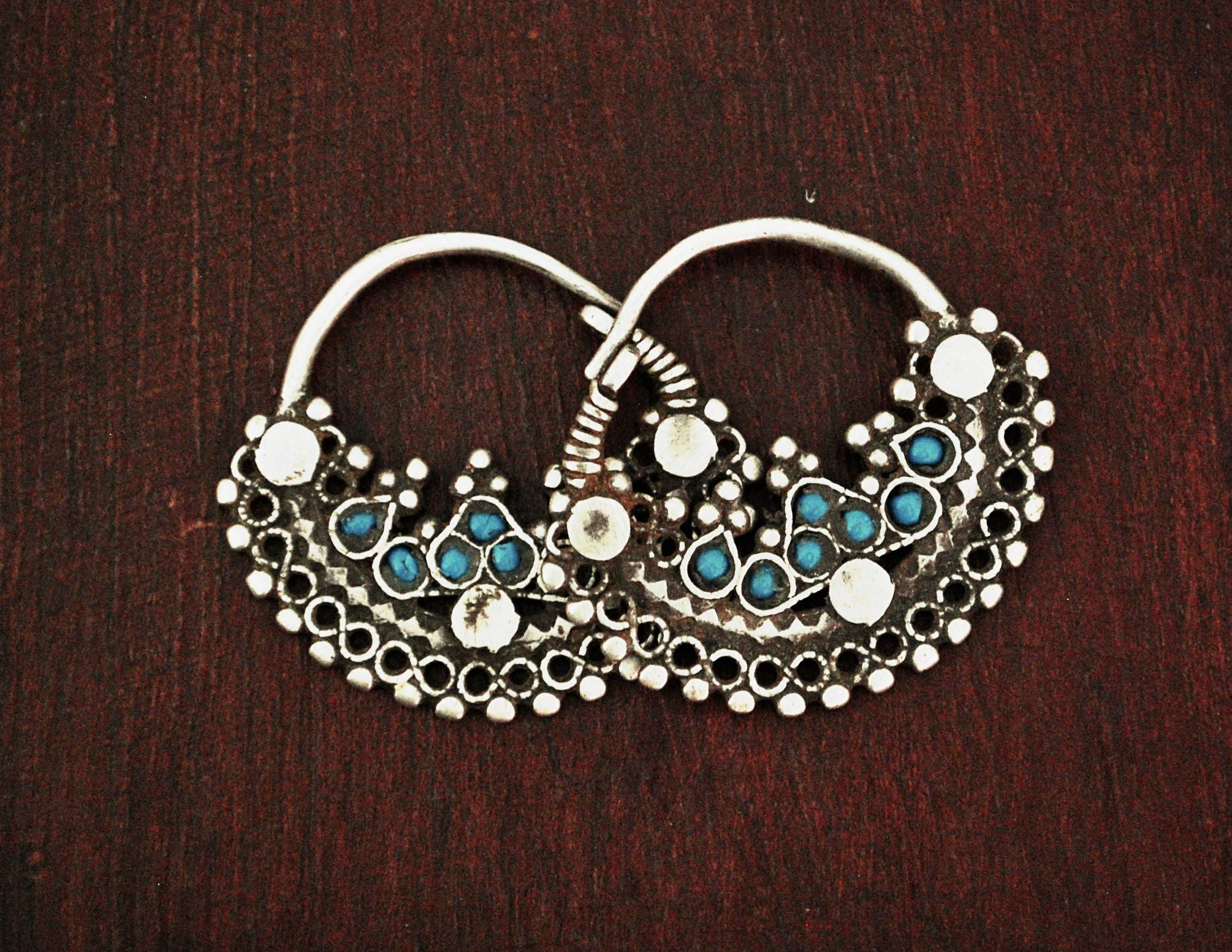 Antique Afghani Hoop Earrings with Turquoise
