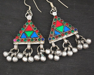 Afghani Earrings with Glass and Bell Dangles
