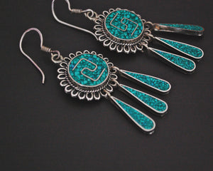 Mexican Turquoise Inlay Dangle Earrings