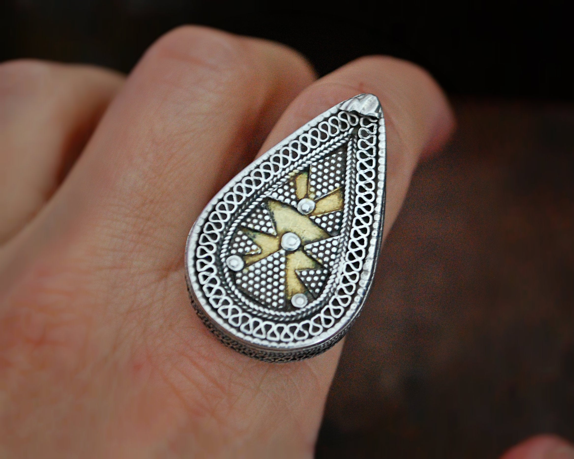 Openable Box Kazakh Tribal Silver Ring with Gold Gilding