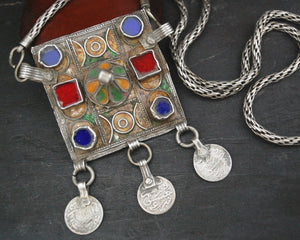 Old Berber Enamel Hirz Pendant with Coins on Silver Chain