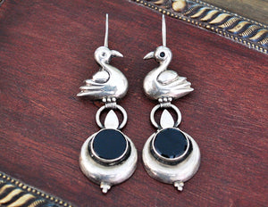 Indian Onyx Earrings with Swan