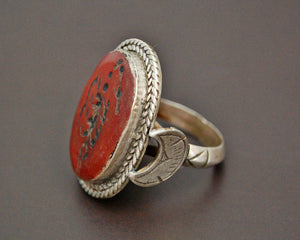 Afghani Crescent Moon Scorpion Intaglio Ring - Size 7.5