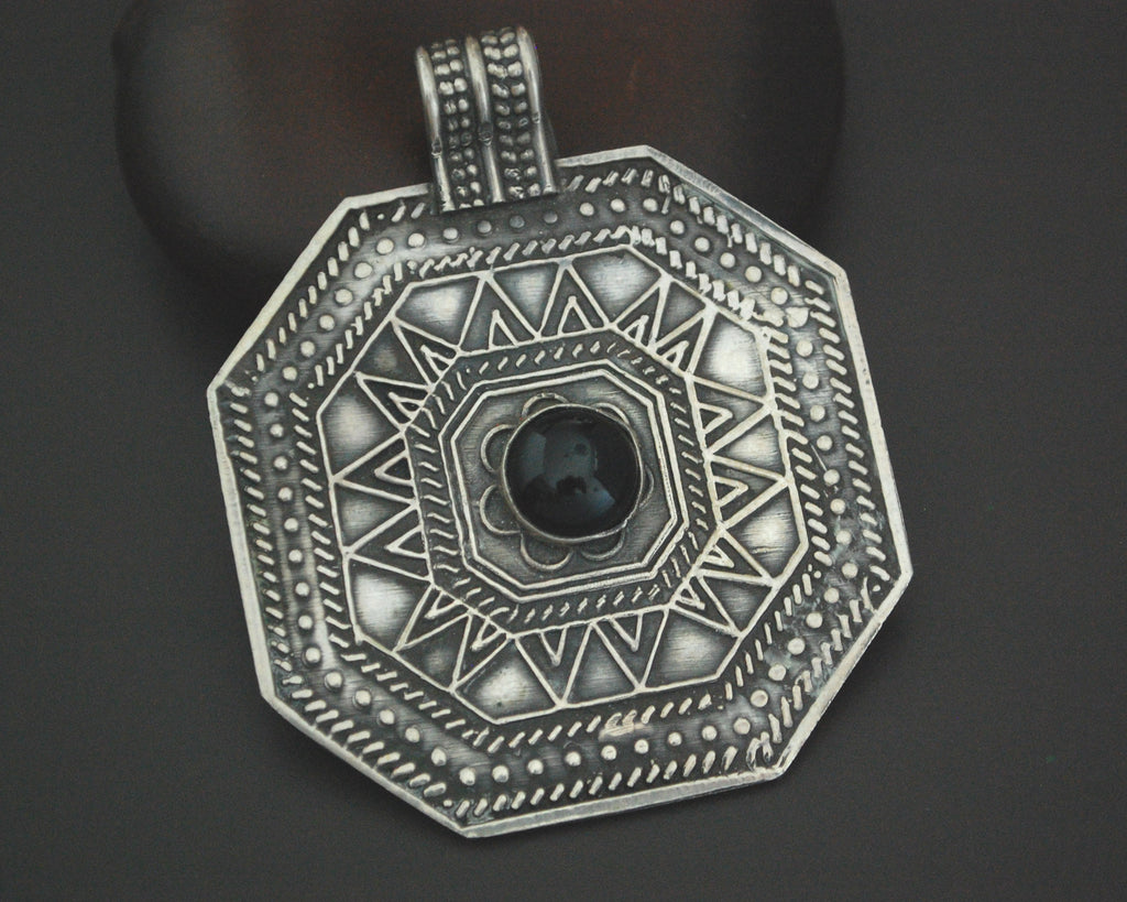 Large Silver and Onyx Amulet Pendant