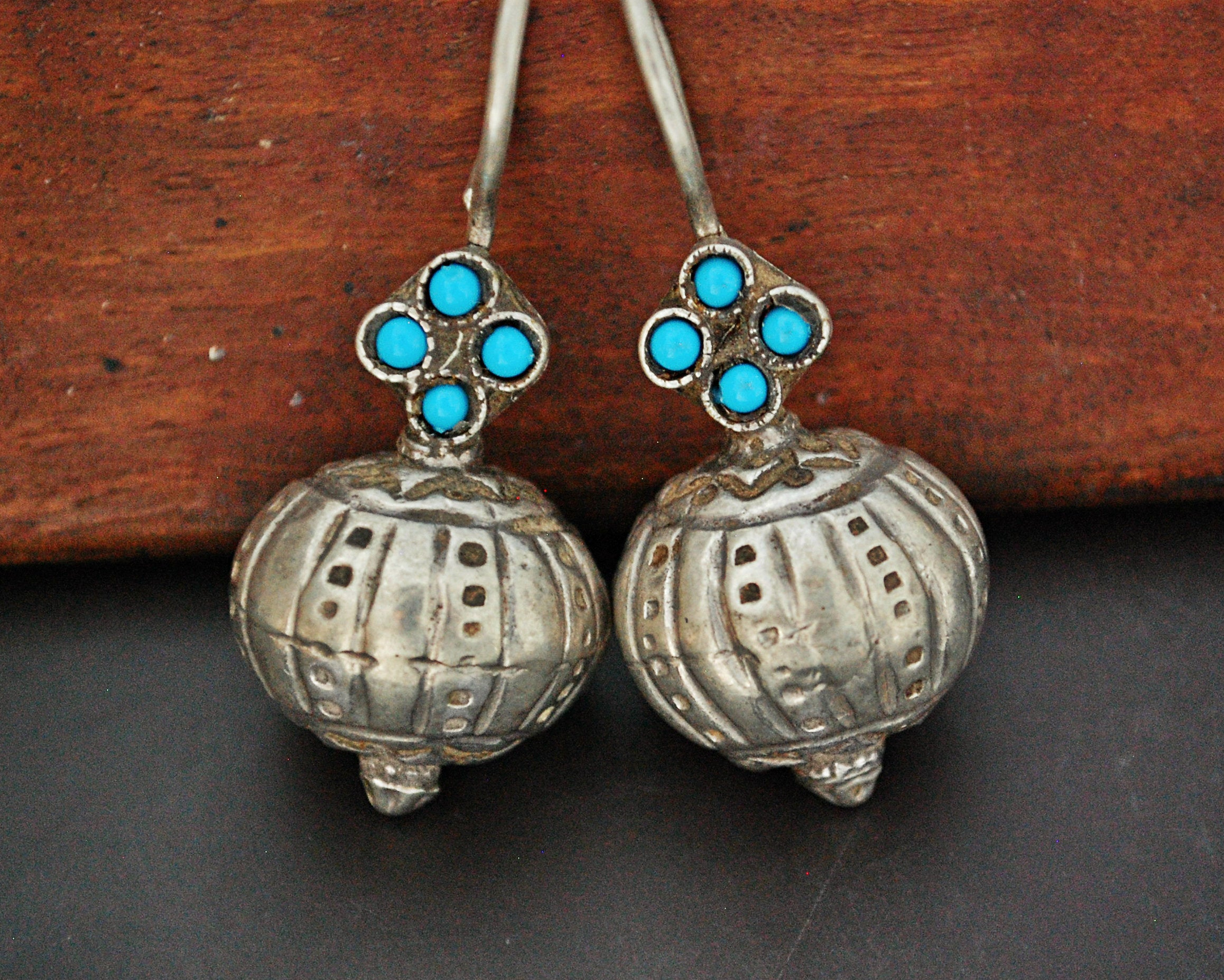 Antique Afghani Earrings with Turquoise