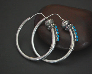 Ethnic Hoop Earrings with Turquoise - LARGE