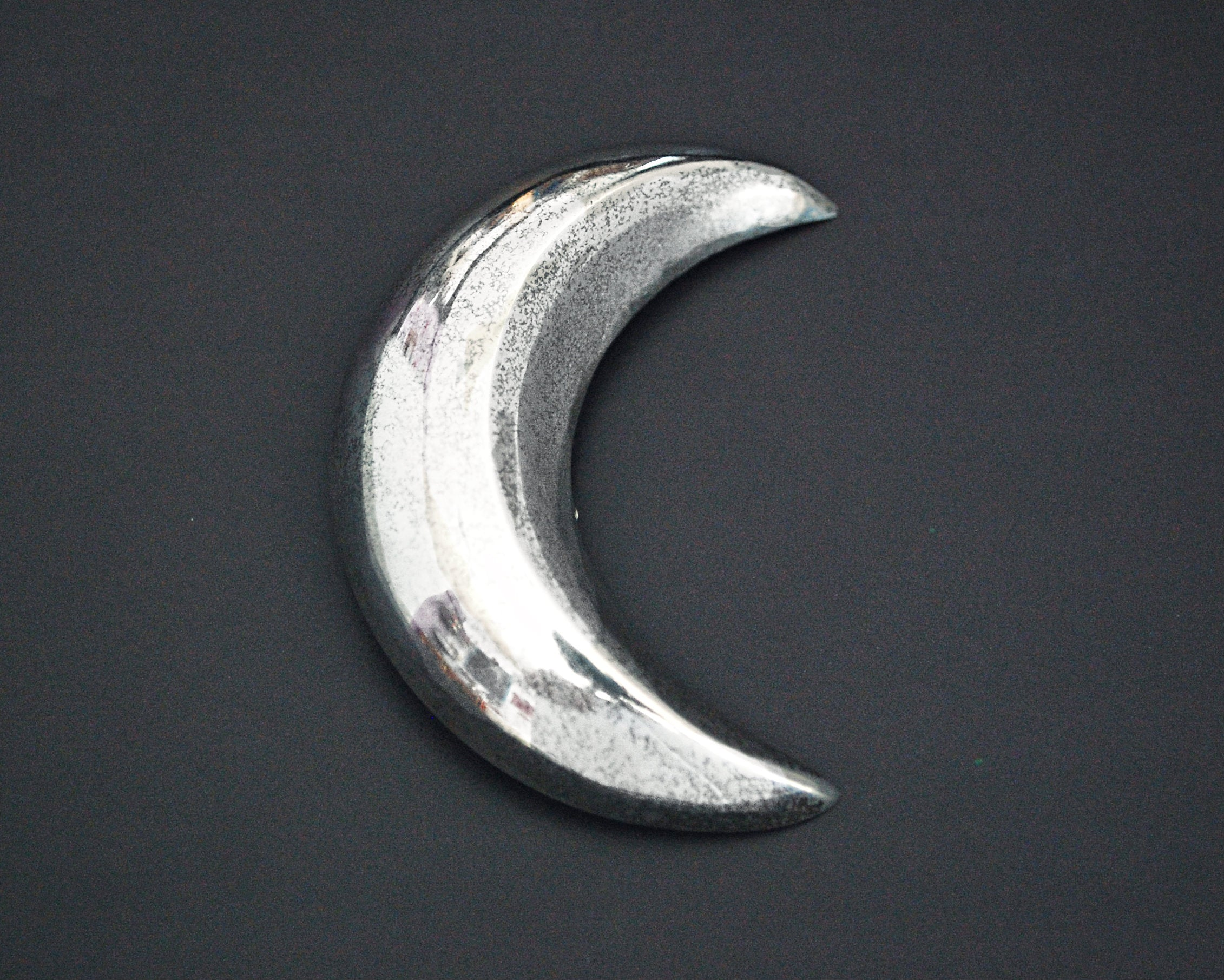 Large Sterling Silver Crescent Moon Brooch
