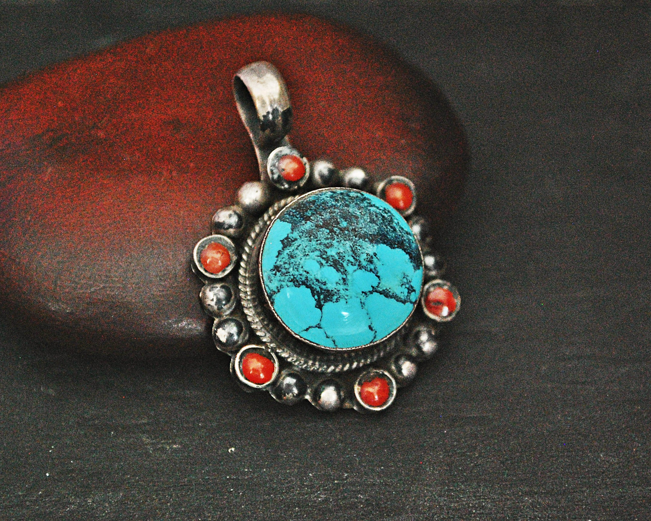 Nepali Turquoise Coral Pendant