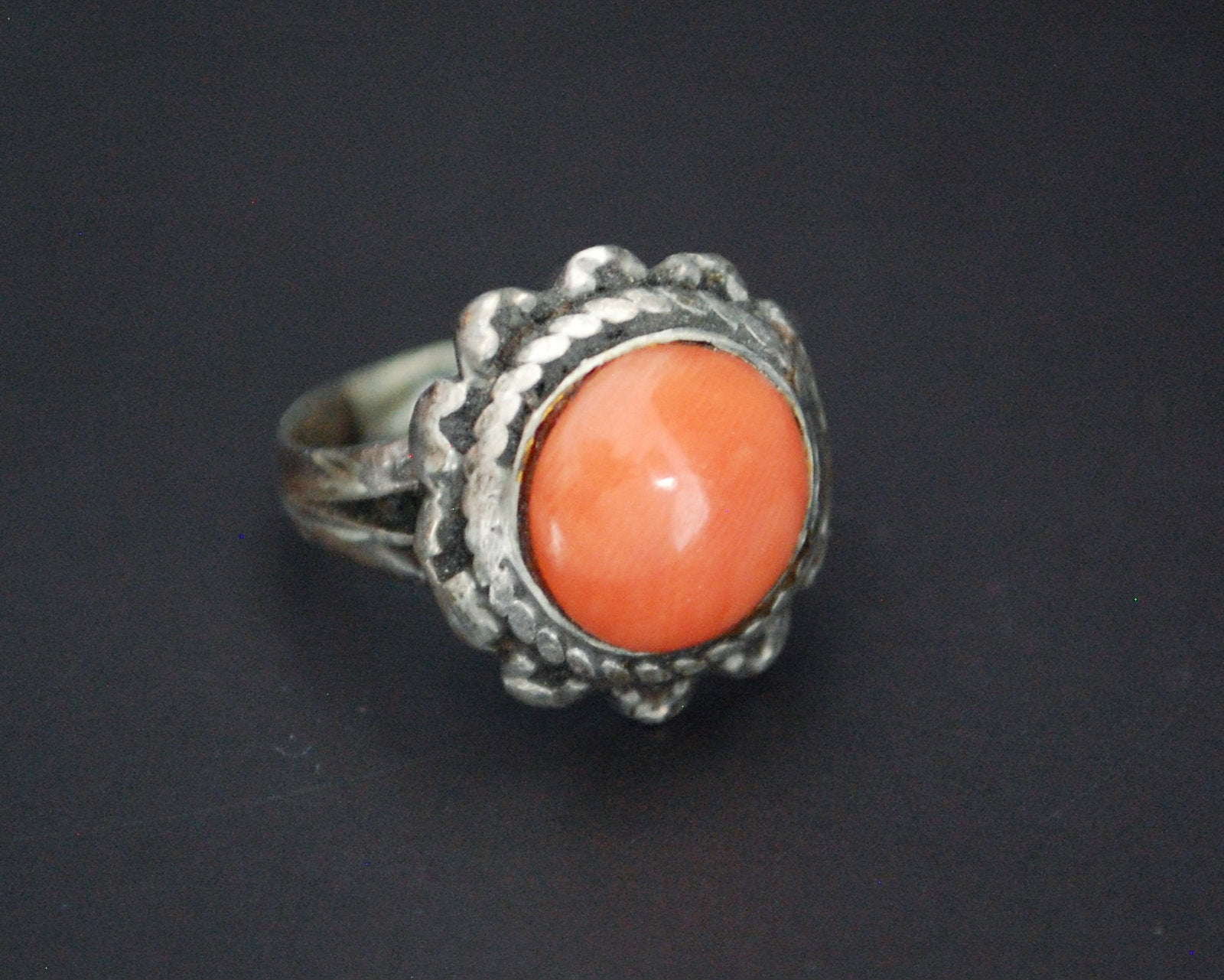 Old Tibetan Coral Ring - Size 5.25