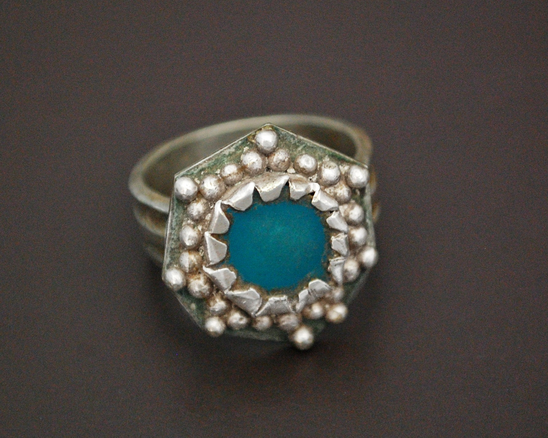 Ethnic Aventurine Ring from Afghanistan - Size 7.5