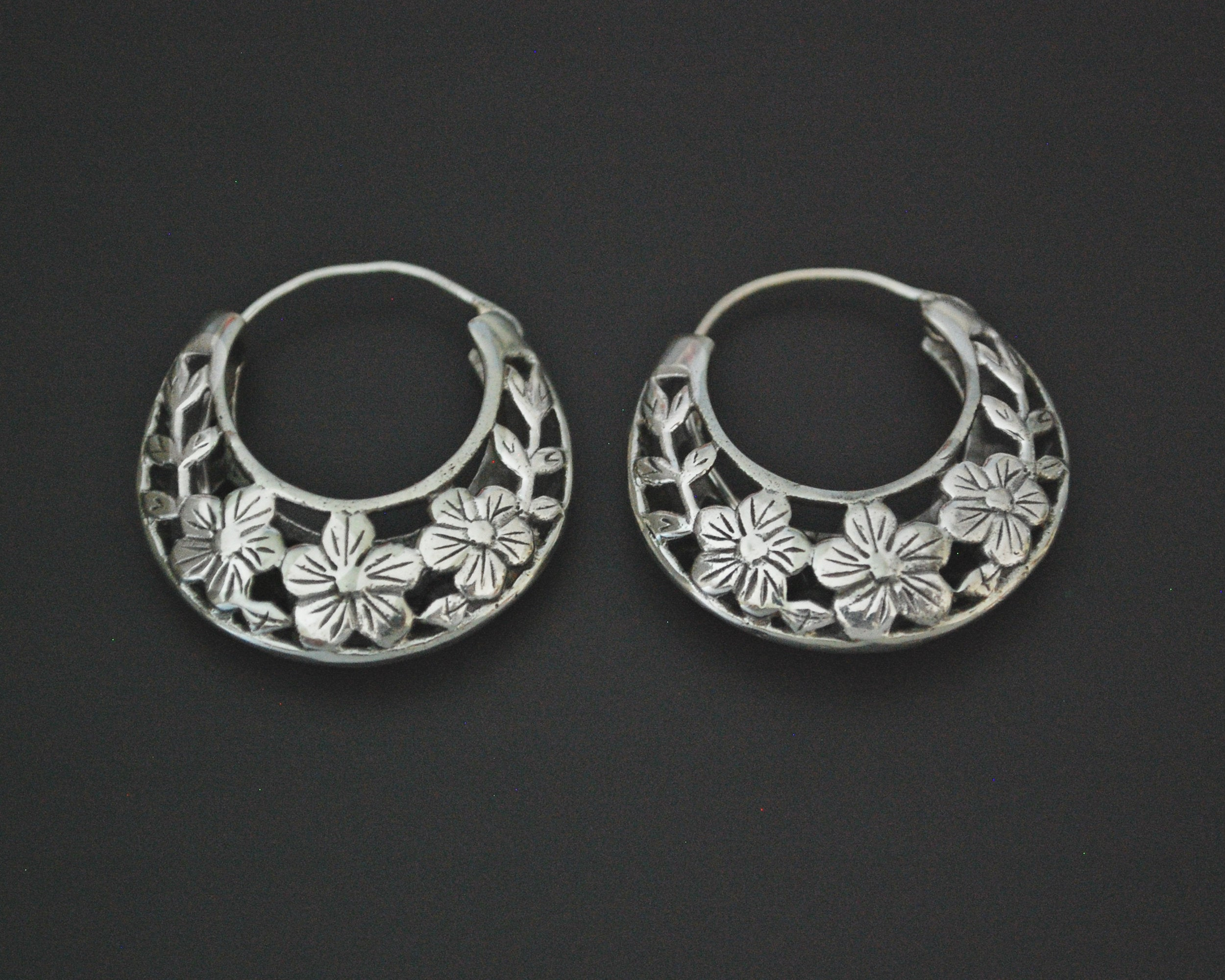 Ethnic Hoop Earrings with Flower Cut Out Design