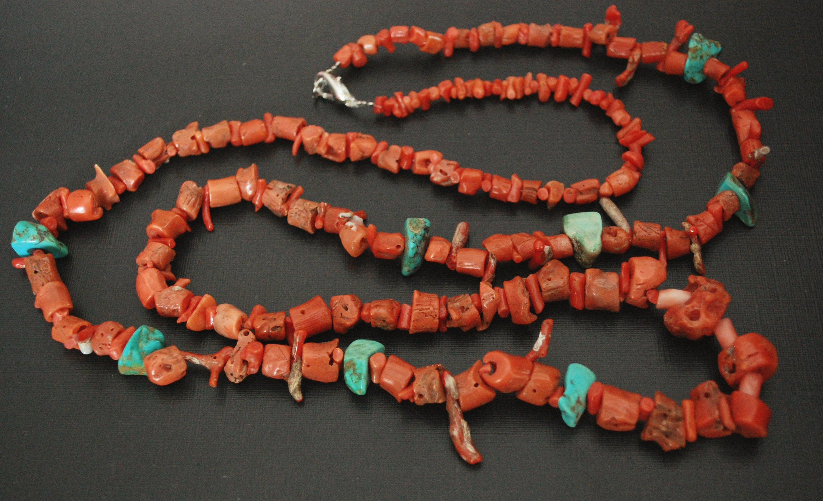 Long Yemeni Coral Turquoise Necklace