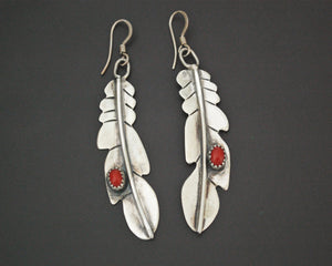 Native American Feather Coral Earrings