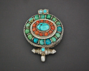 Tibetan Gau Box with Coral and Turquoise