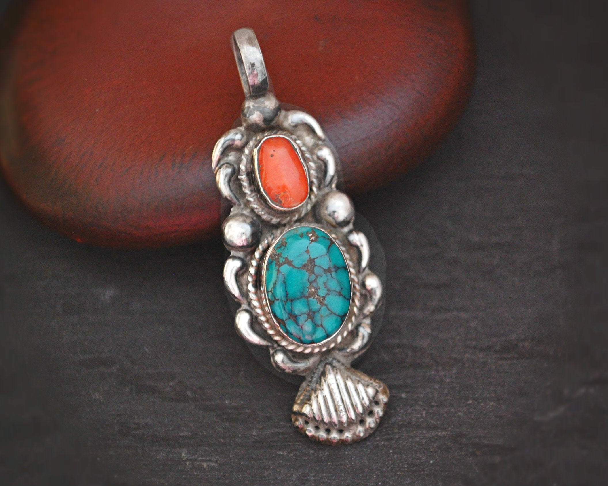 Turquoise and Coral Pendant from India
