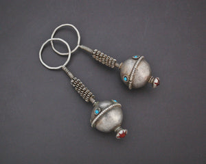Old Afghani Earrings with Turquoise and Glass