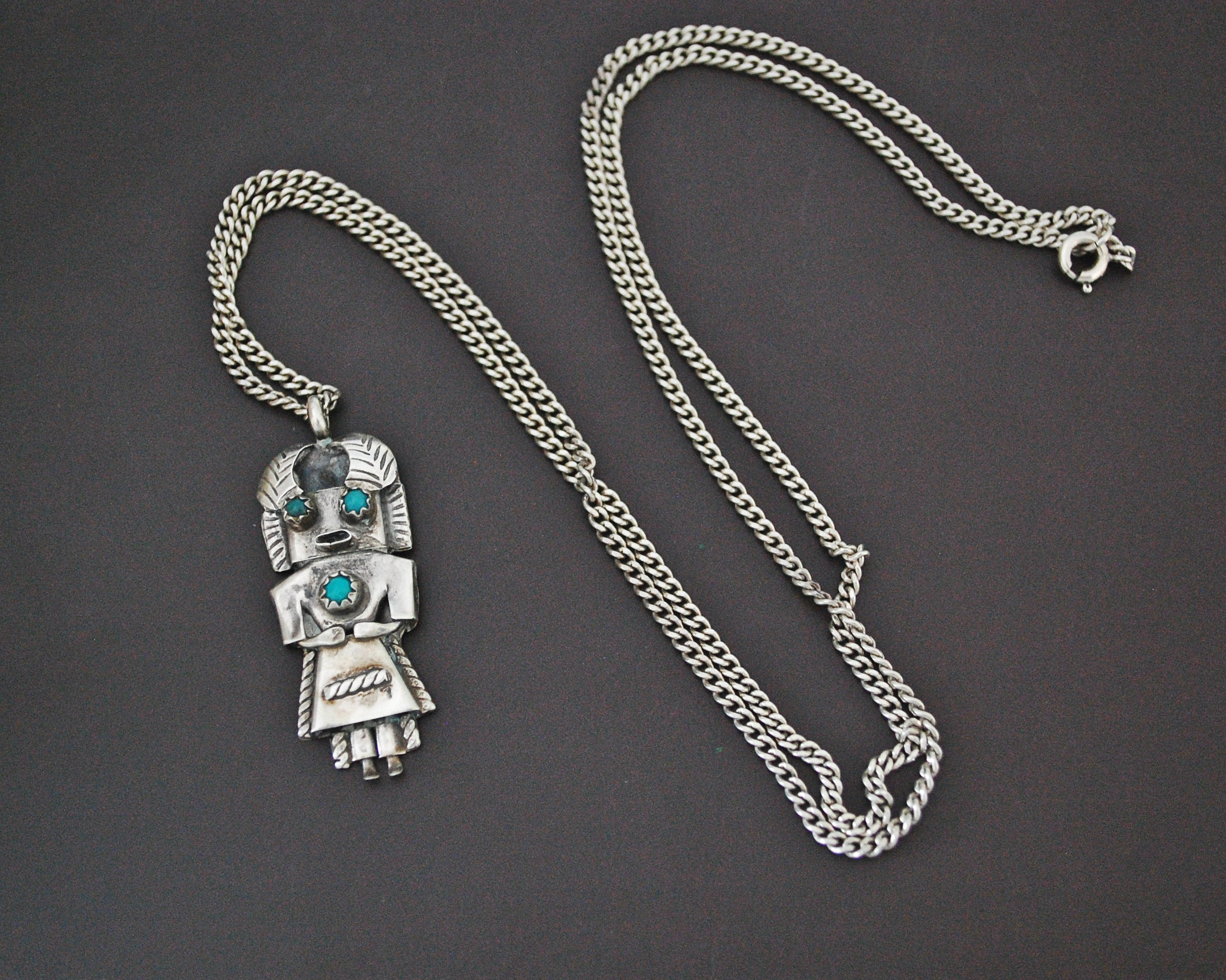 Navajo Kachina Pendant with Silver Chain