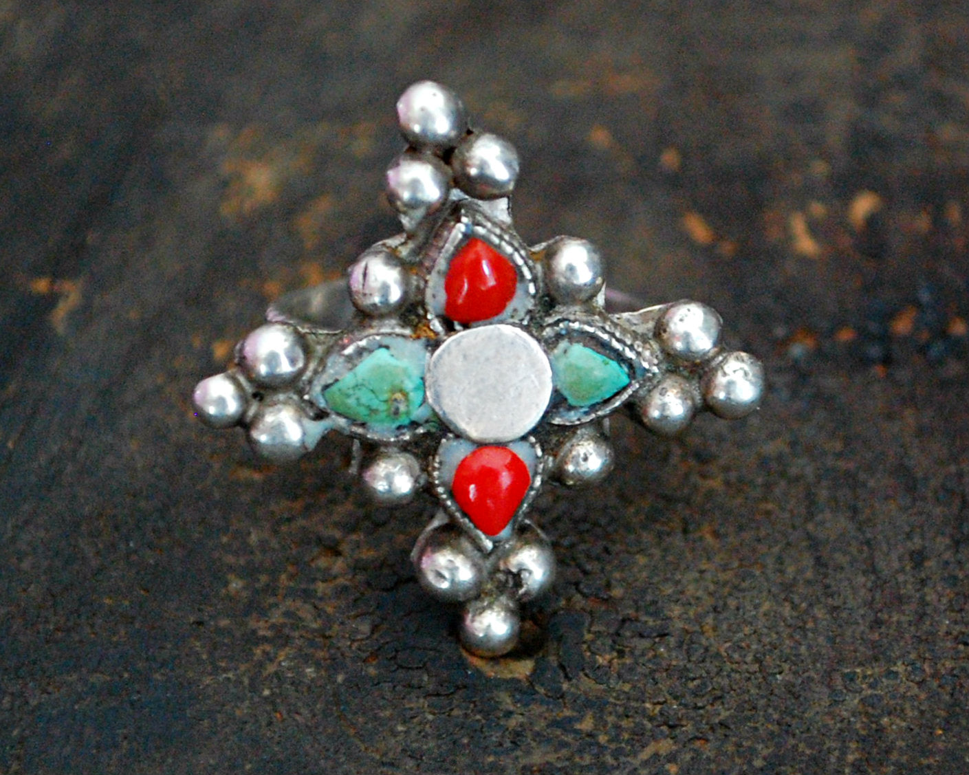 Ethnic Coral Turquoise Ring from Ladakh - Size 6.25