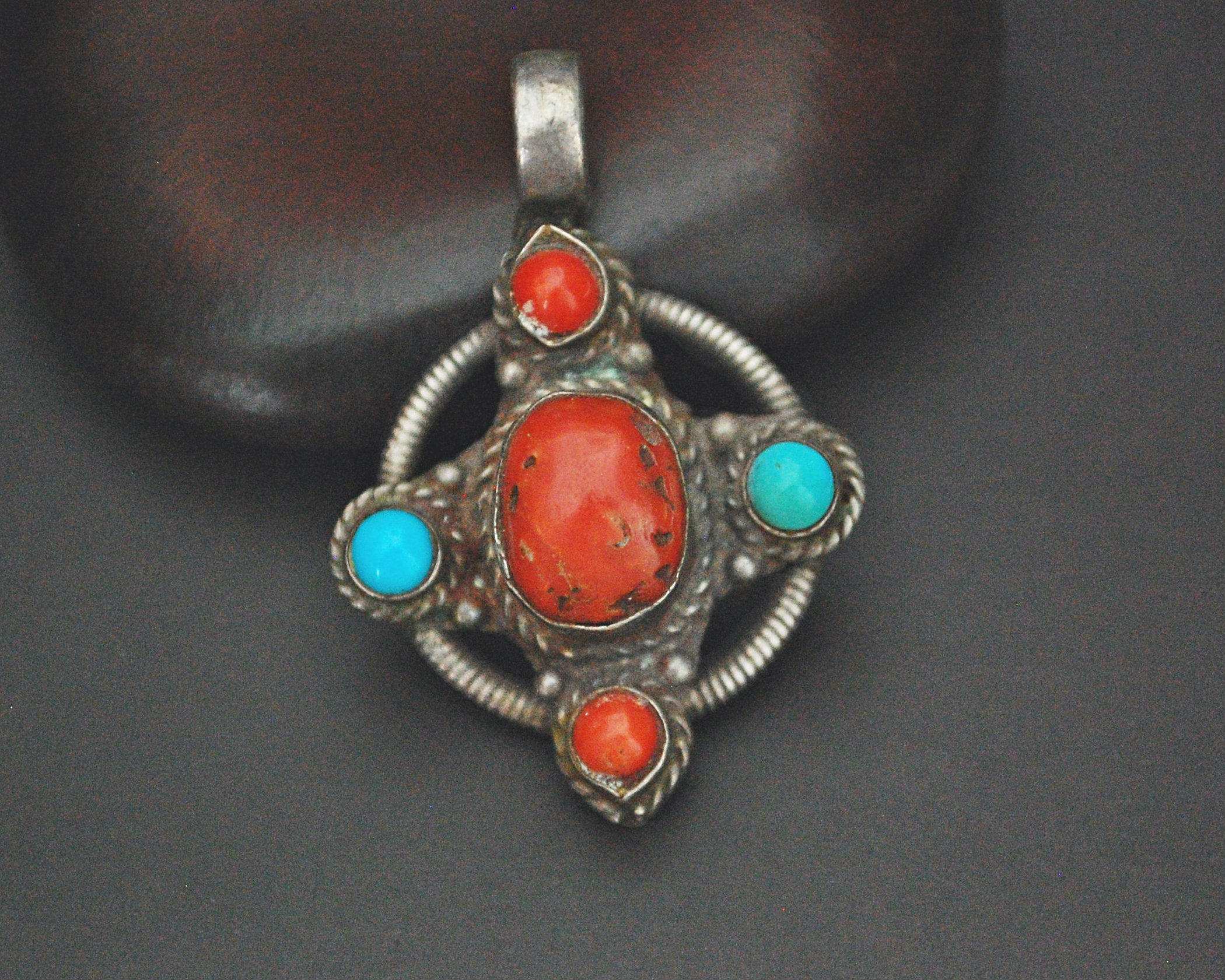 Tibetan Coral and Turquoise Pendant