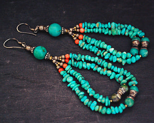 Ethnic Turquoise Coral Earrings