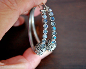 Ethnic Hoop Earrings with Moonstone - LARGE
