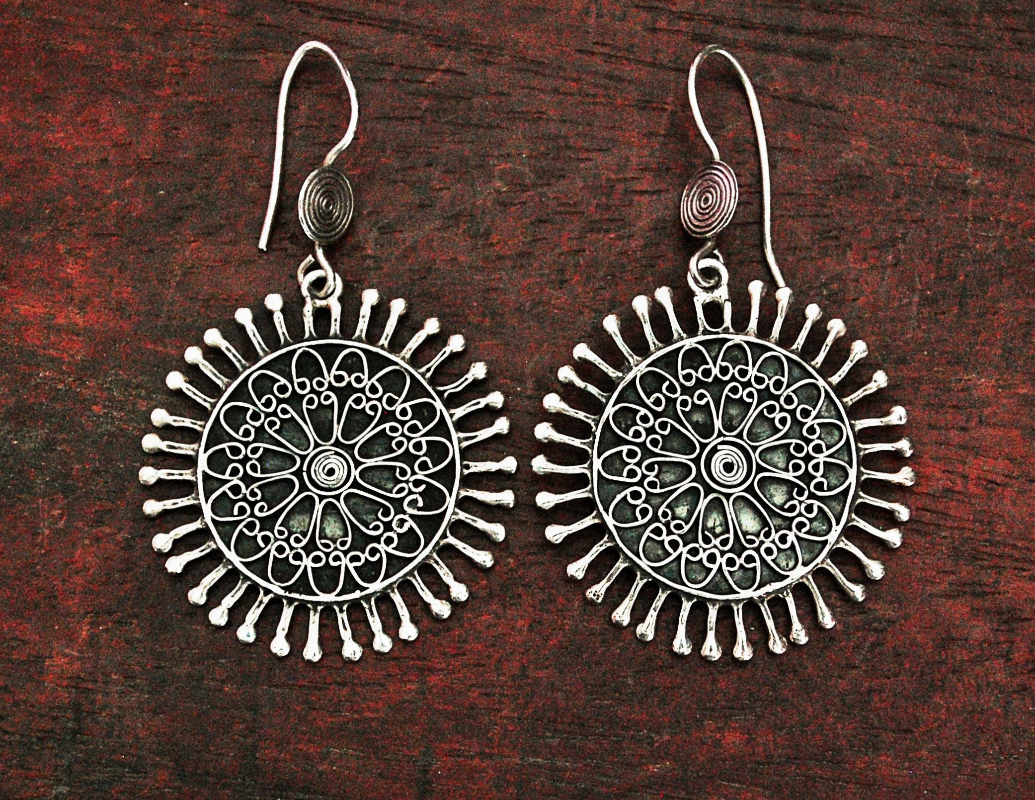 Ethnic Indian Mandala Dangle Earrings