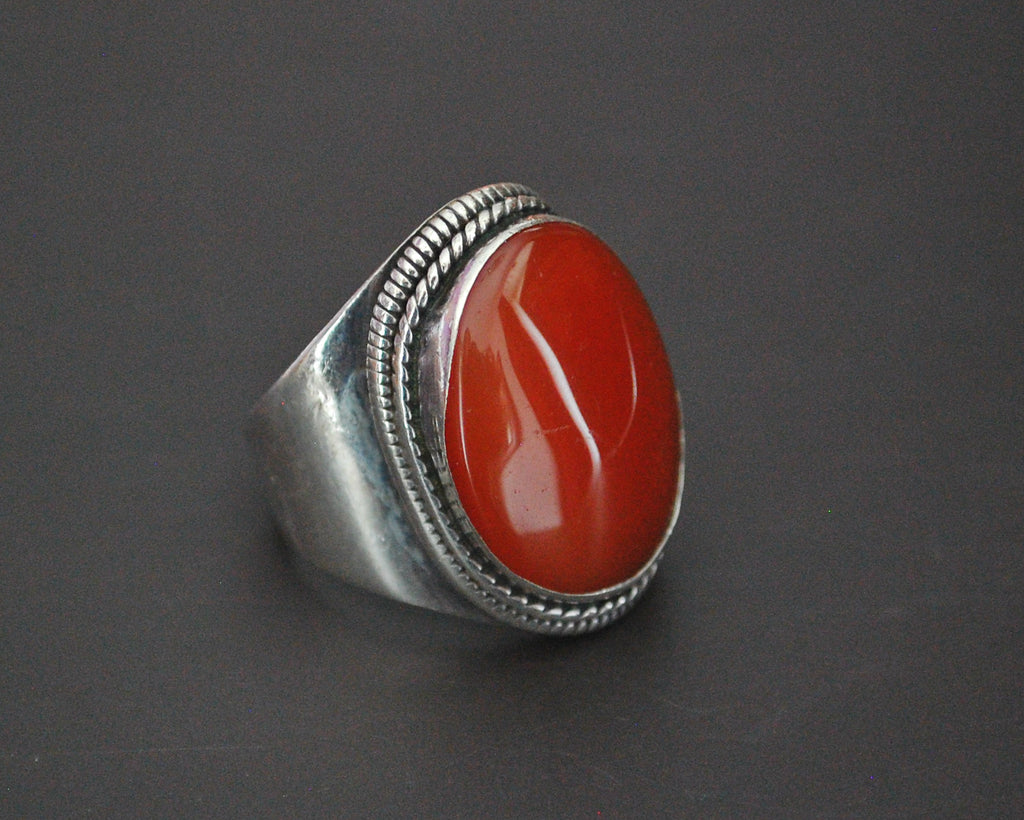 Large Carnelian Ring from India - Size 8