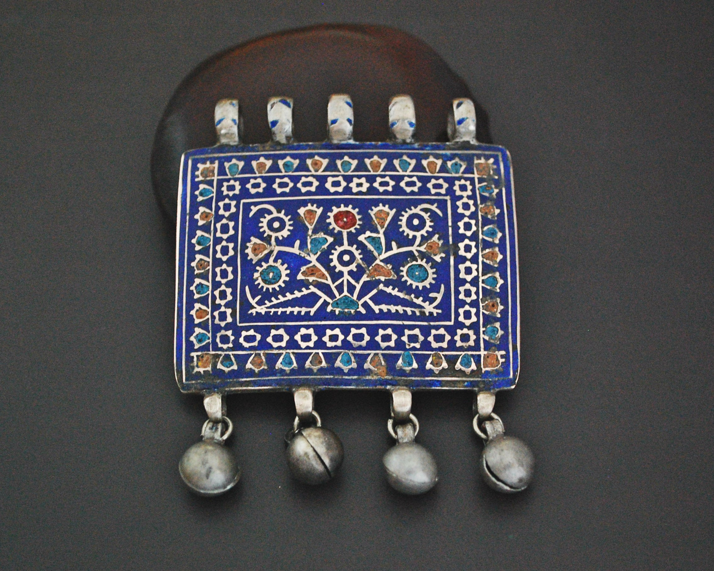 Multan Enamel Silver Pendant with Bells