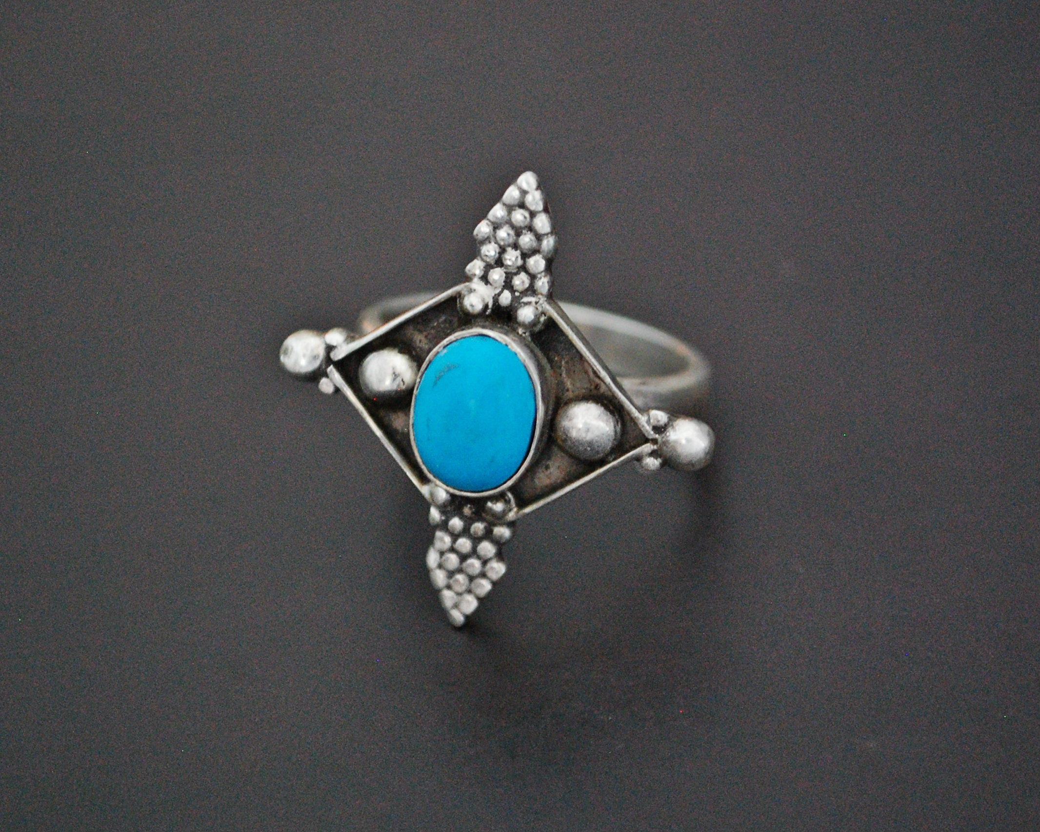 Ethnic Turquoise Ring from India - Size 7.5