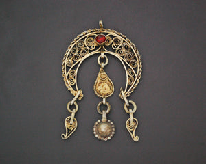 Tunisian Gilded Filigree Crescent Pendant with Red Glass