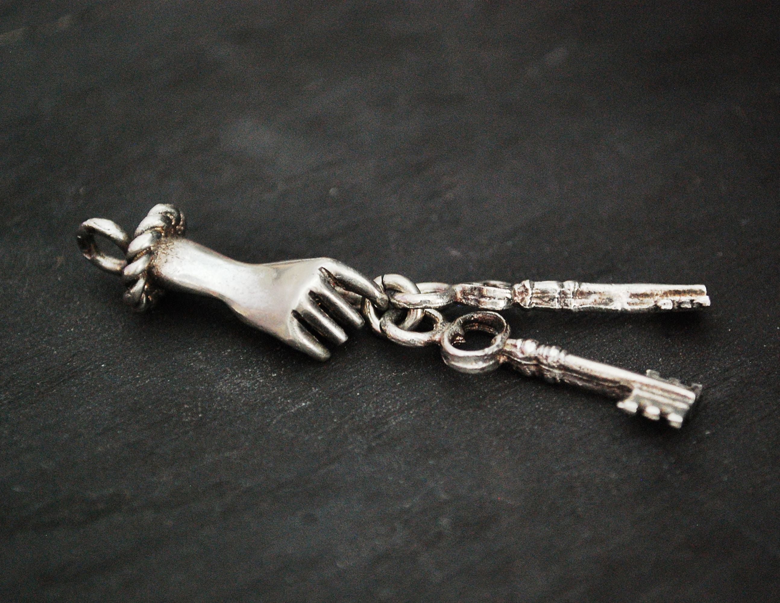 Solid Silver Hand Pendant with Keys