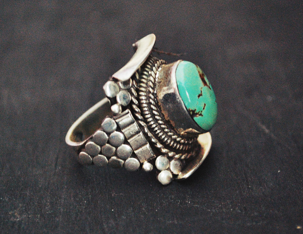 Nepali Turquoise Saddle Ring - Size 9