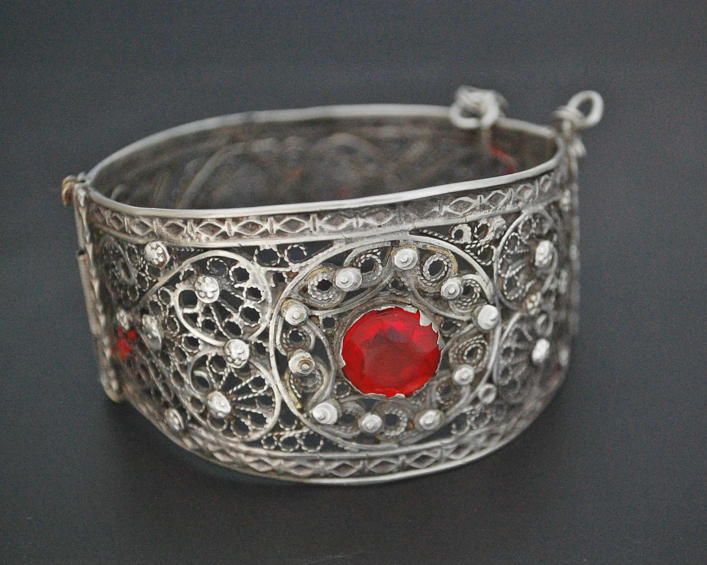 Yemeni Filigree Bracelet with Red Glass