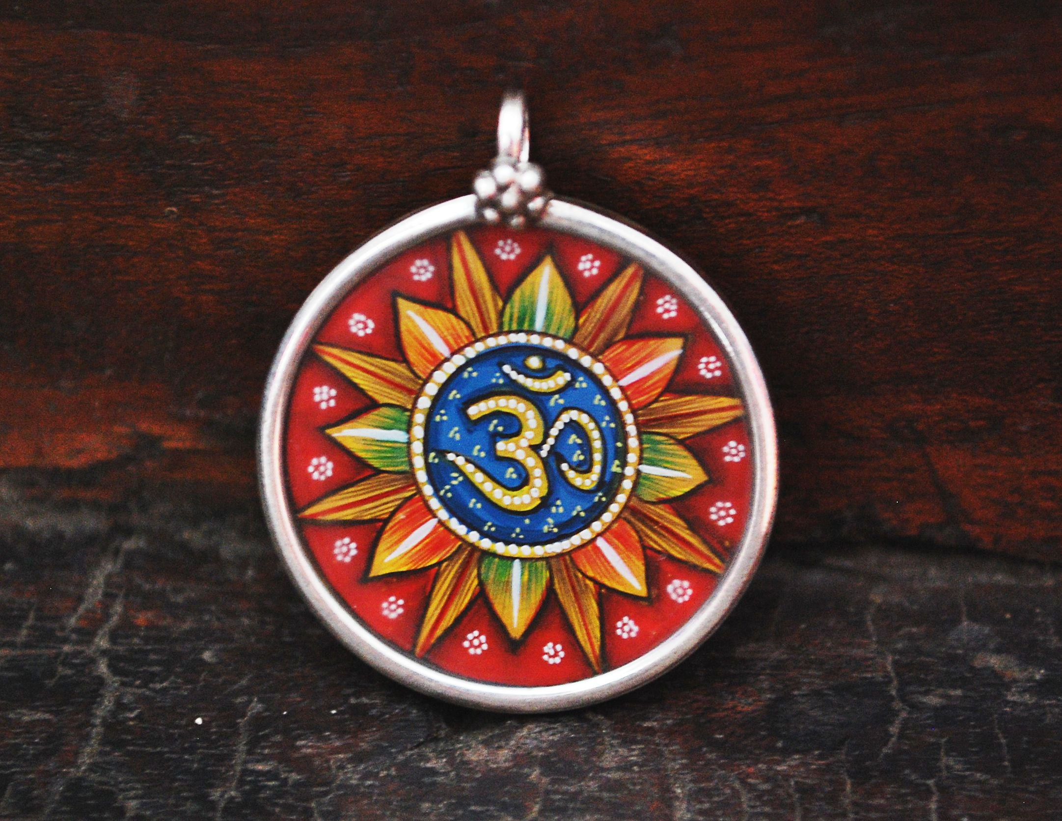 Indian Om Painted Pendant