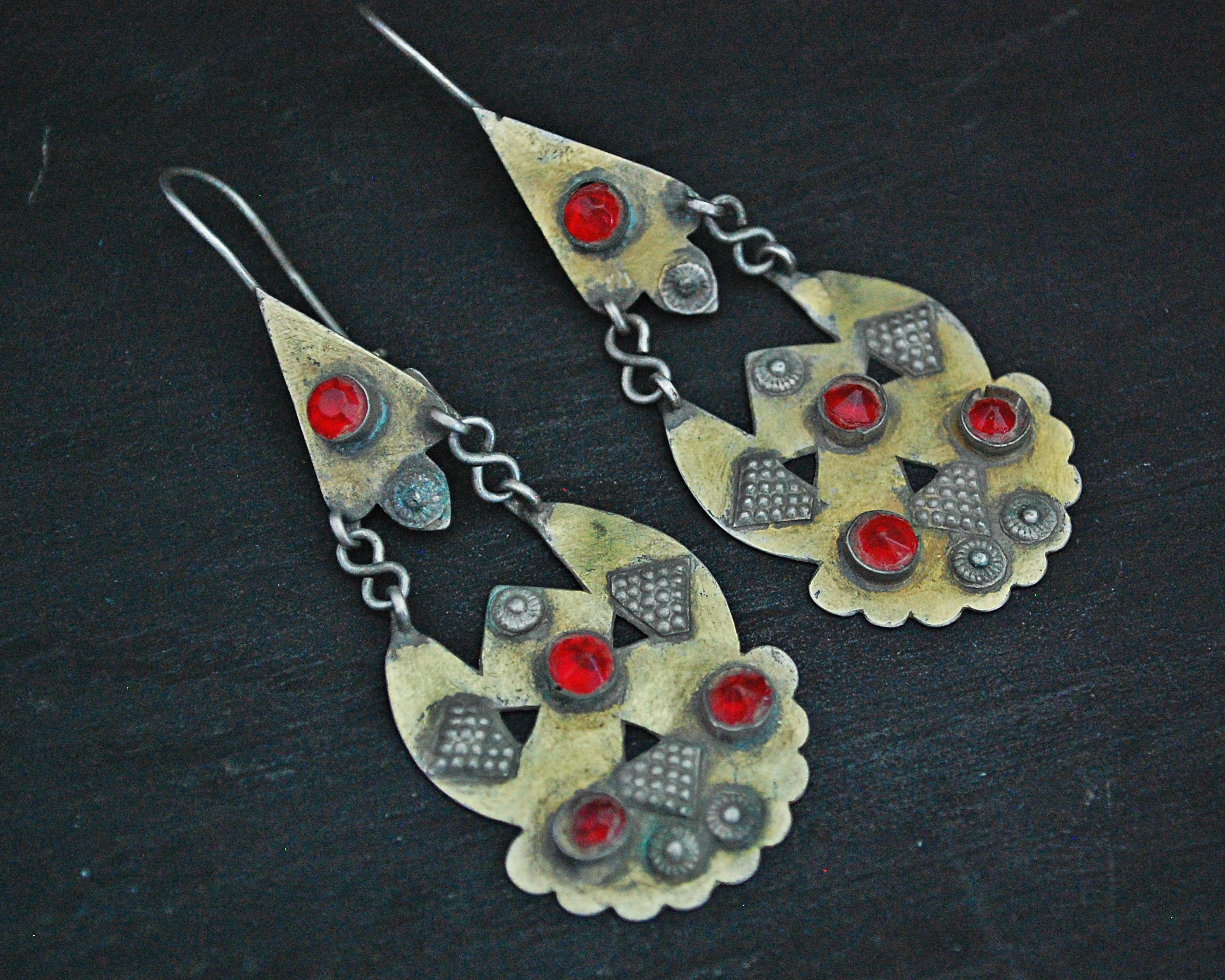 Afghani Earrings with Red Glass