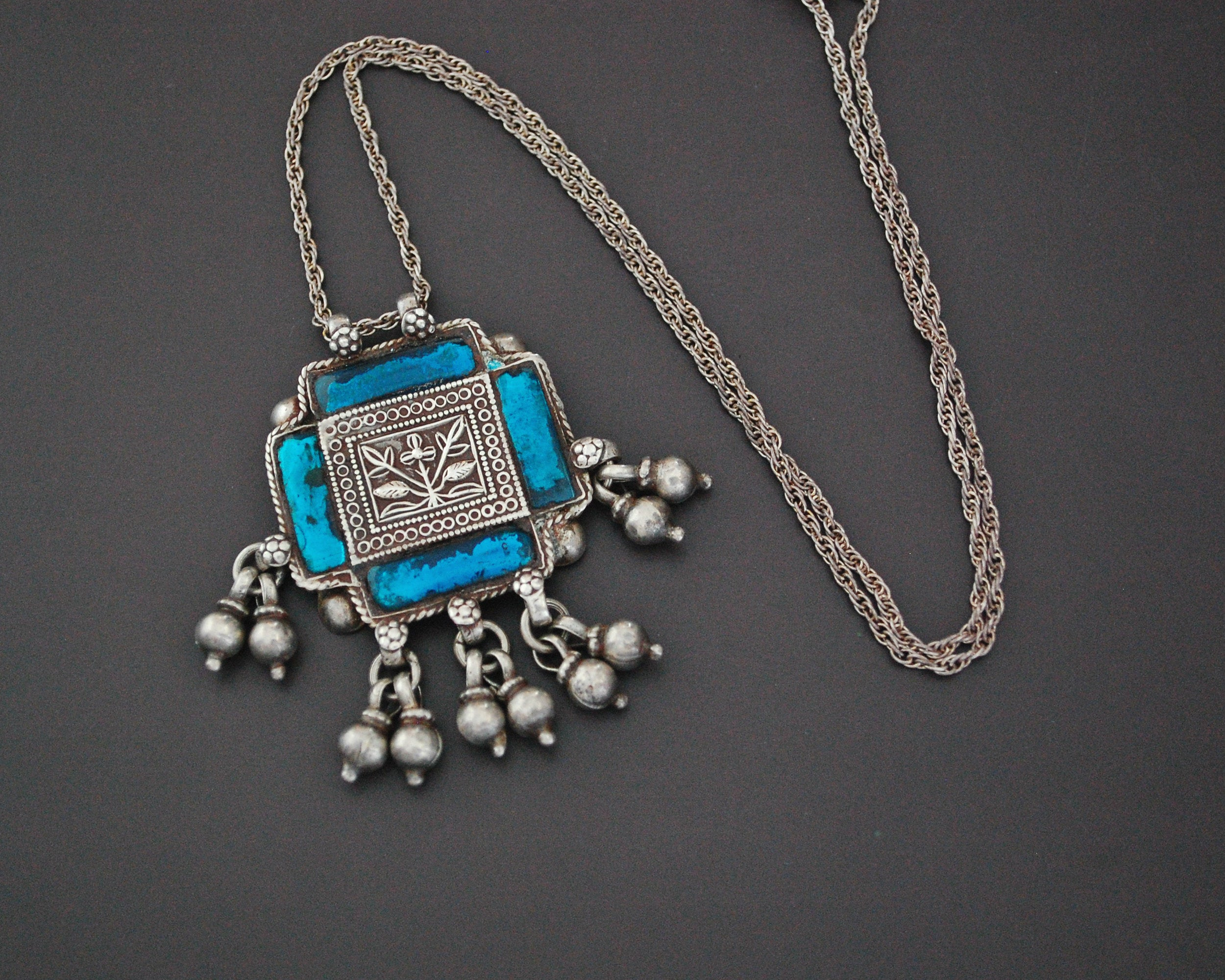 Rajasthani Silver Amulet with Glass and Bells Necklace