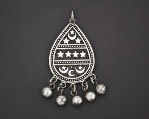 Egyptian Crescent Moon and Star Pendant with Bells