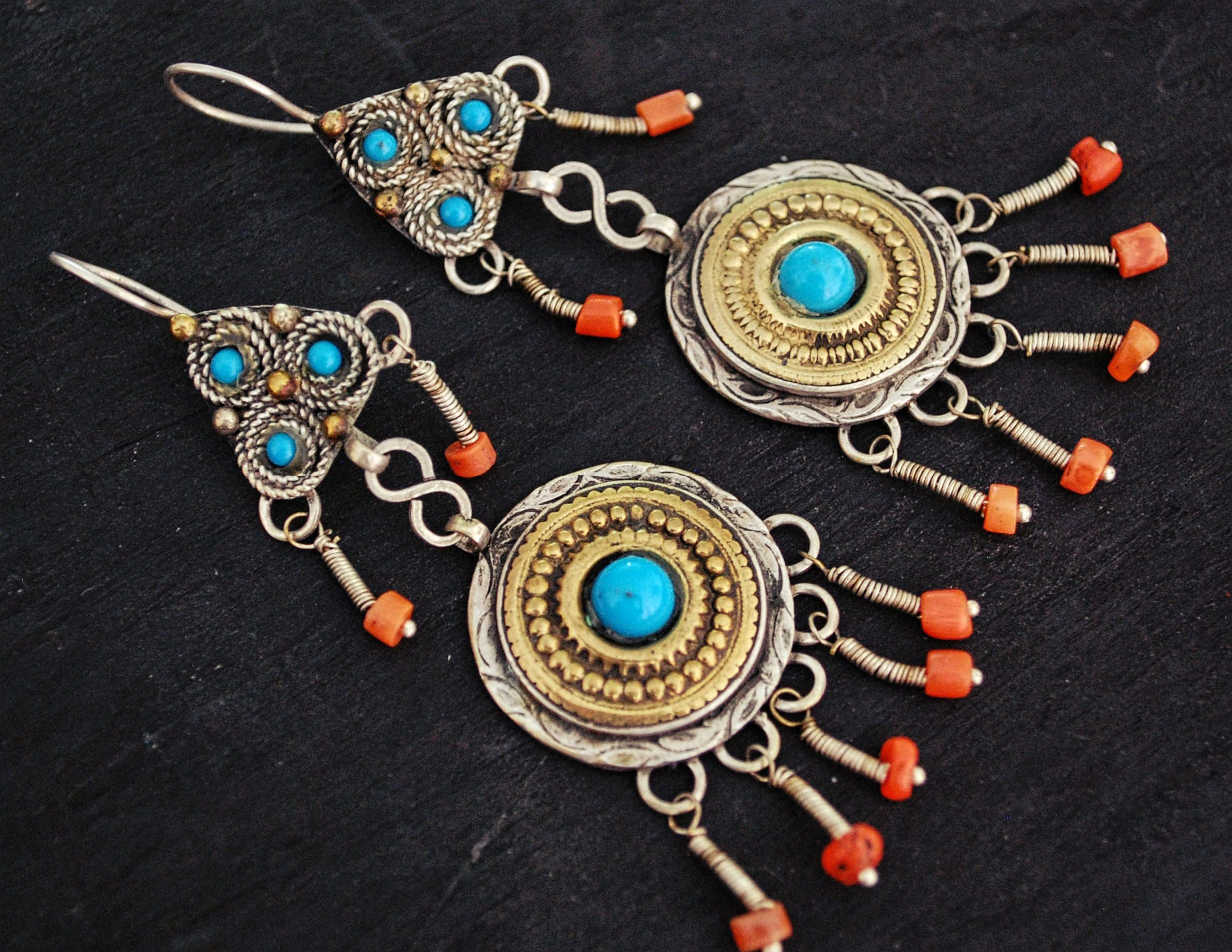 Uzbek Gilded Coral Earrings with Blue Glass