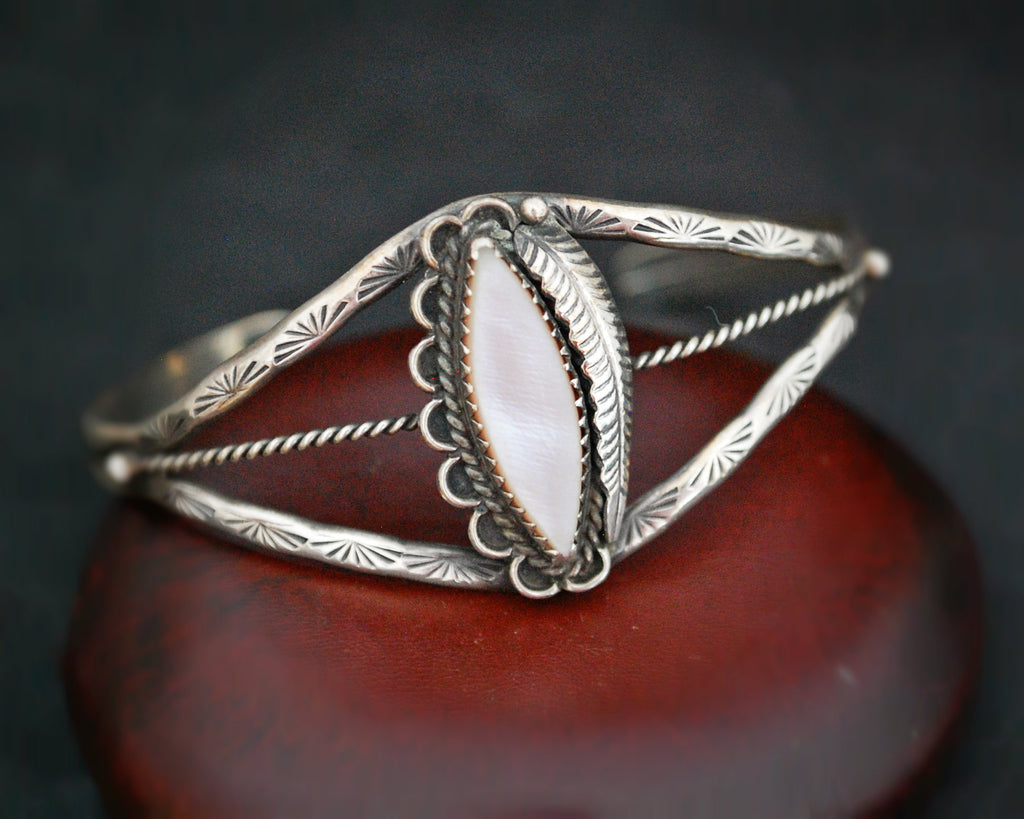Native American Navajo Cuff Bracelet with Mother of Pearl