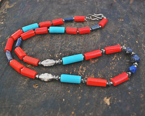 Ethnic Coral, Turquoise and Lapis Lazuli Silver Beads Necklace from India