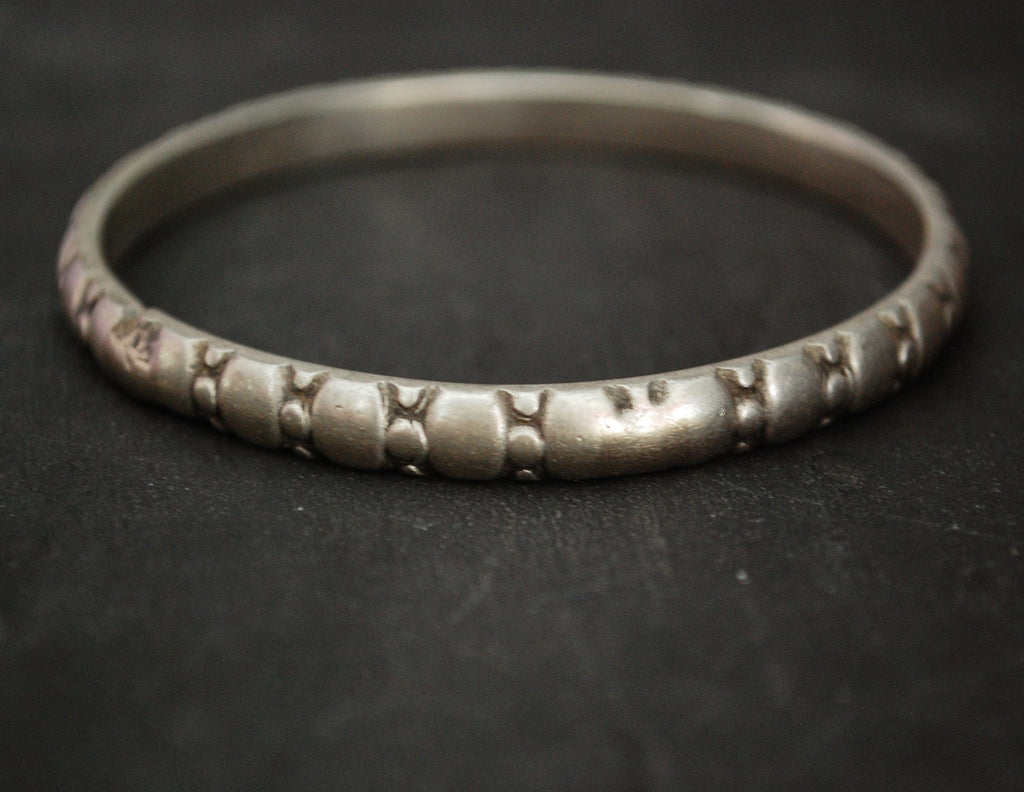 Antique Indian Tribal Silver Bracelet from Rajasthan