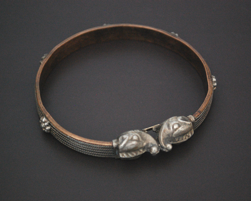 Elephants Head Bangle Bracelet with Flowers on Copper