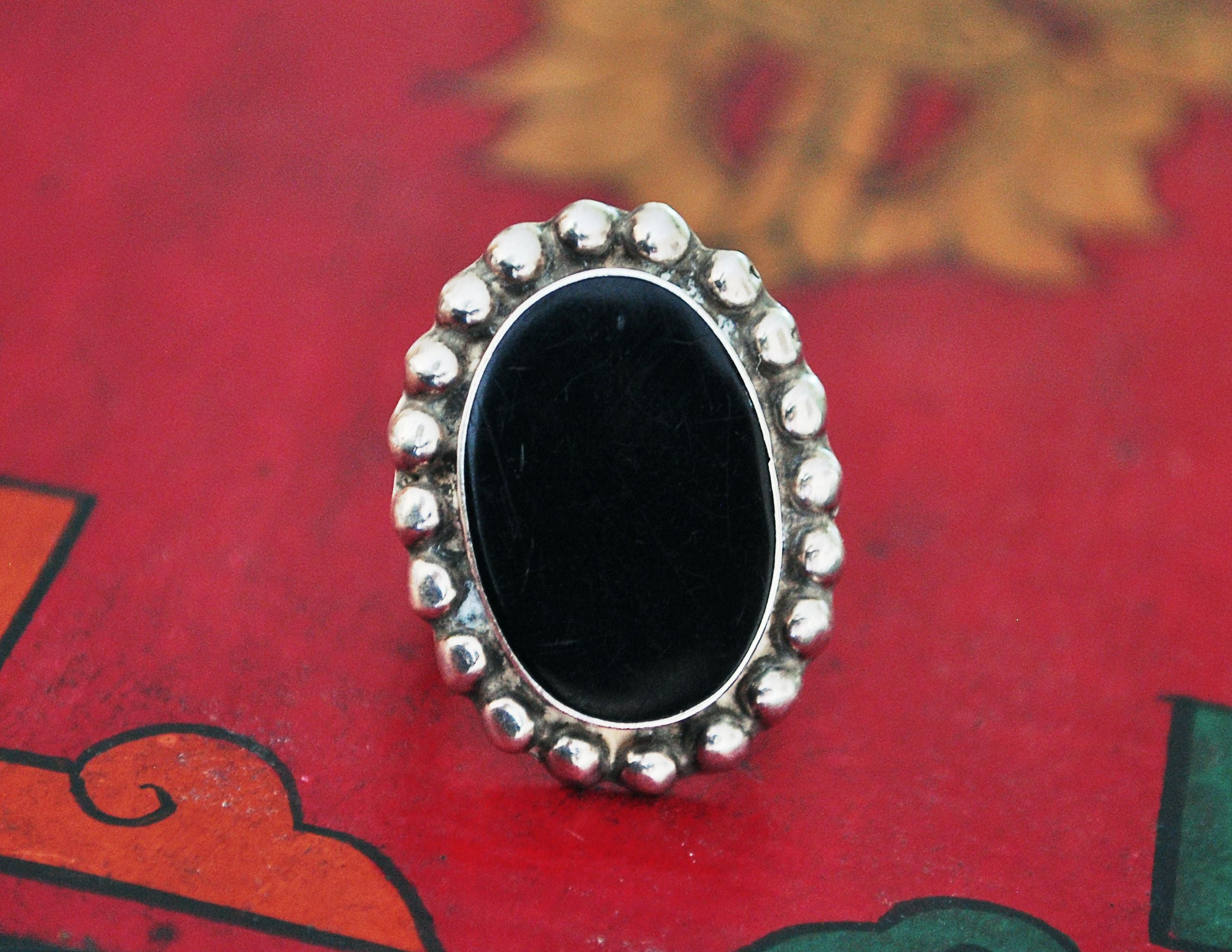 Ethnic Onyx Ring from Mexico - Size 4