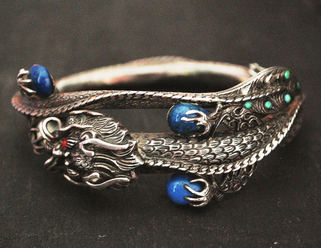 Fabulous Nepali Hinged Dragon Bracelet with Lapis Lazuli, Coral and Turquoise